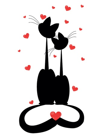 valentine cat:  silhouettes of two cats in love. Vector illustration