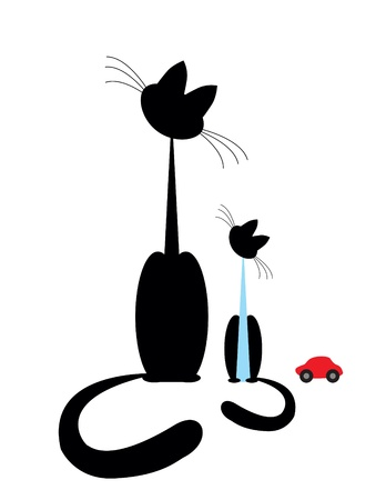 a cat with a small kitten boy and car Stock Vector - 10461849