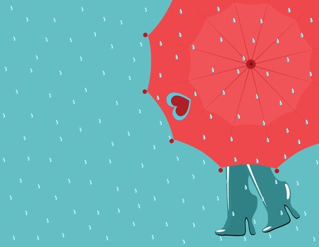 background rain with umbrella and boots Vector