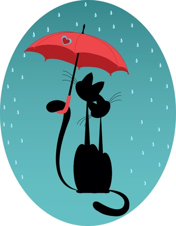 love cat with umbrella Vector