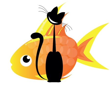 cat and gold fish Vector