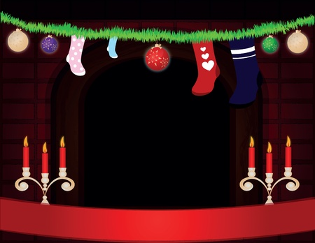 Christmas room with fireplace Stock Photo - 10842983