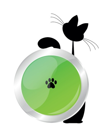 cat and button Vector