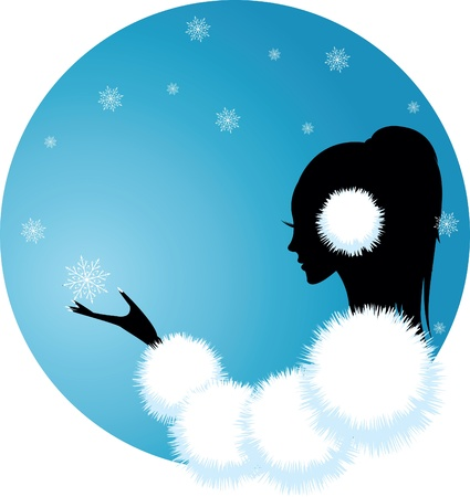 girl or woman of winter Vector