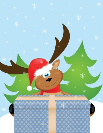deer with christmas gift Vector