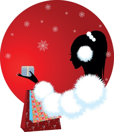 girl or woman with christmas gift Vector