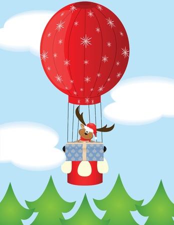 deer on Santa hat with gift Illustration