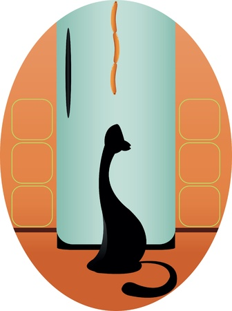 cat and sausages Vector