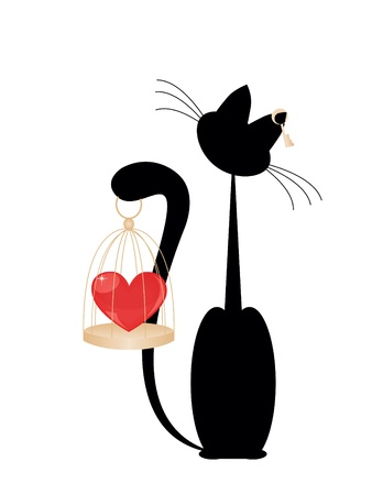 Cat and heart Vector