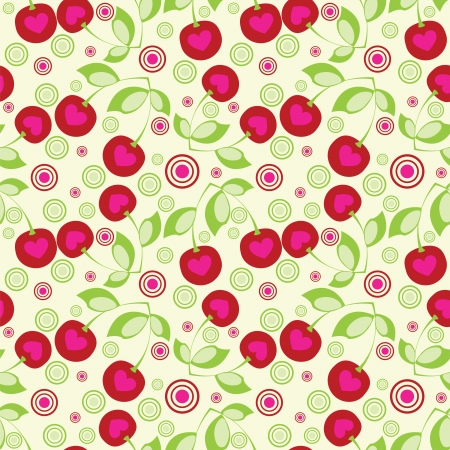 cherry pattern:  Seamless cherry background.