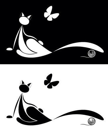 black and white line drawing: set of cat silhouette with butterfly for your design Illustration