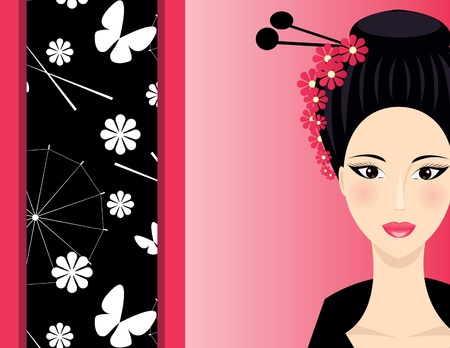 Cute Asian background with face of  Girl Stock Vector - 13111495