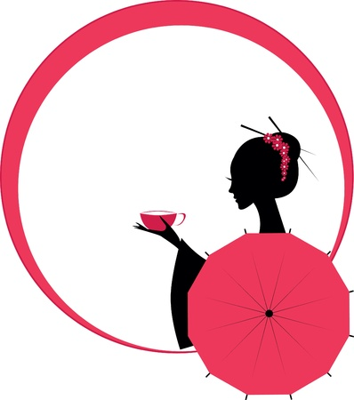japanese kimono: Cute Asian Girl Character with cup of tea Illustration