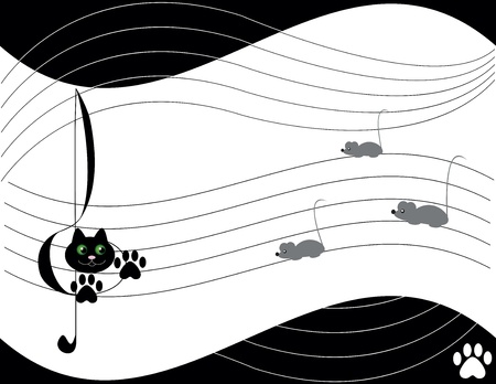 Music theme with cat and many  mouse Vector