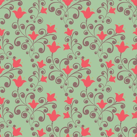Elegance Seamless pattern with flowers tulips in vintage style