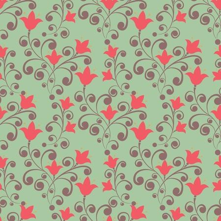 flores color pastel: Elegancia sin fisuras patr�n de flores de tulipanes en el estilo vintage