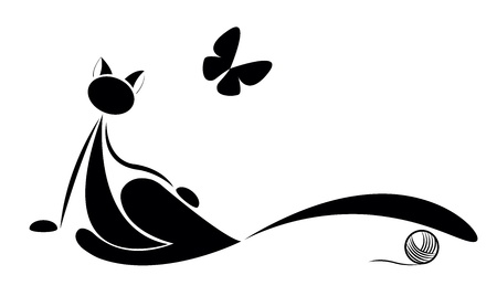 butterfly tail: cat silhouette with butterfly for your design Illustration