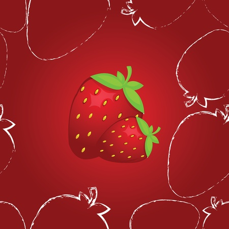 cute seamless strawberry pattern in vector Vector