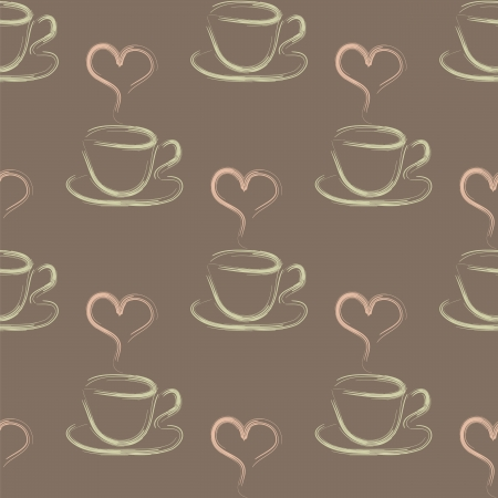 seamless vector pattern with cup of coffees and hearts Vector