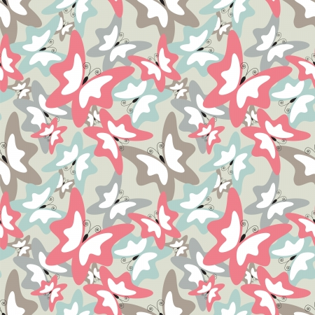 Seamless pattern with many color butterfly Vector