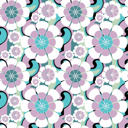 Seamless pattern with flowers . Floral background. Vector