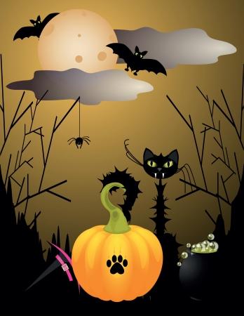 Halloween criaturas con el gato, la Luna, el murci�lago, la calabaza Foto de archivo - 13913724