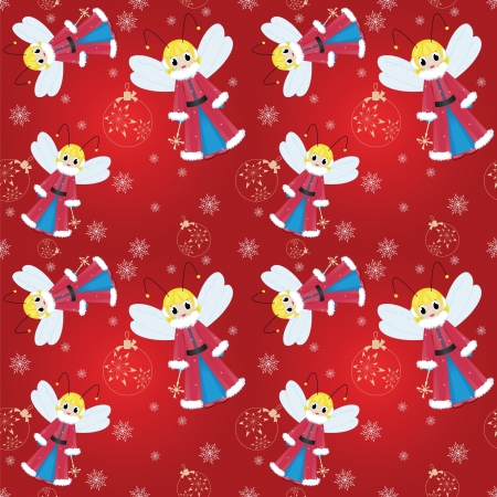 seamless pattern christmas fairy with snowflake and ball Vector