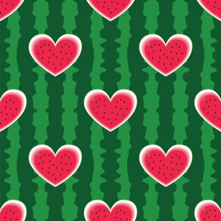 Seamless colorful watermelon pattern with heart. Vector