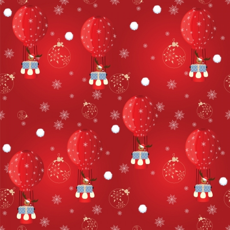 seamless pattern with reindeer with Santa hat, gift on balloon Vector