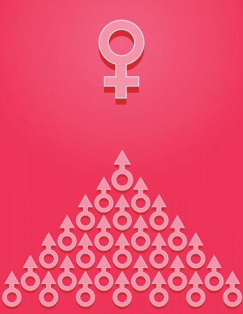 Gender symbols on pink background. Concept. Stock Vector - 14354791
