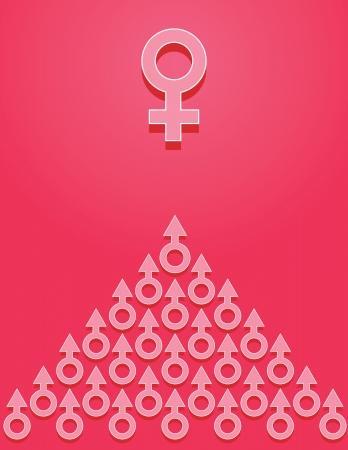 Gender symbols on pink background. Concept. Stock Vector - 14354791