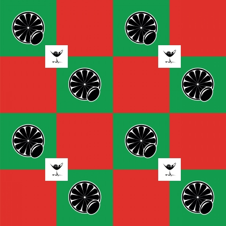 Pattern of Martini glasses on color background as flag Italy Vector