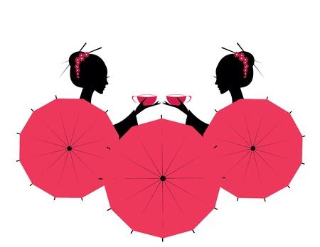 kimono: Car�cter Cute Asian Girls con tazas de t� Vectores