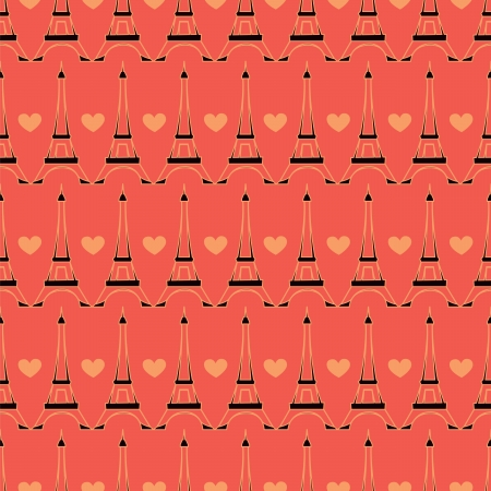 seamless Paris pattern whith big heart Vector