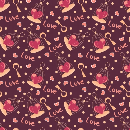valentine seamless pattern with heart on calls and key Vector