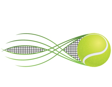 raqueta de tenis: Tenis emblema y s�mbolos aislados sobre fondo blanco. Vectores