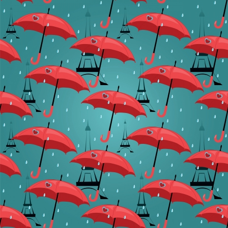 vector seamless pattern with red umbrellas Vector