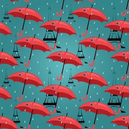 Vektor nahtlose Muster mit roten Regenschirmen