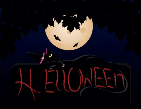 spooky eyes: Halloween cat wearing witches hat against a full moon Illustration