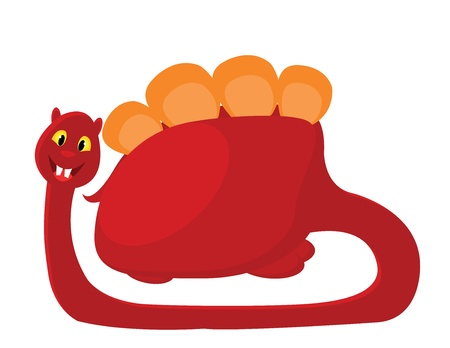 big red with orange dino on white background Vector
