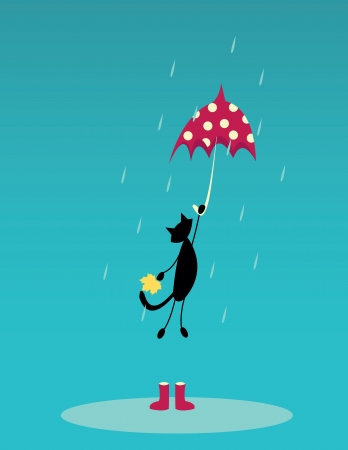 cartoon poes: kat vliegen met rode paraplu op regen