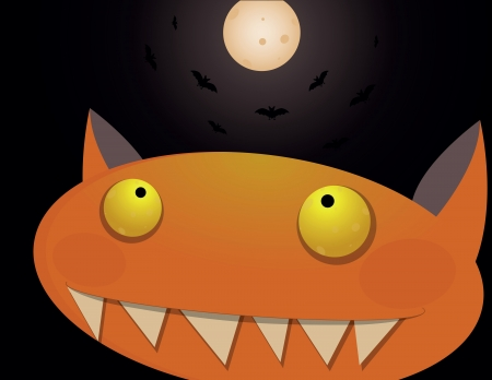 gluttonous: Funny orange monster on halloween night with Moon and bats