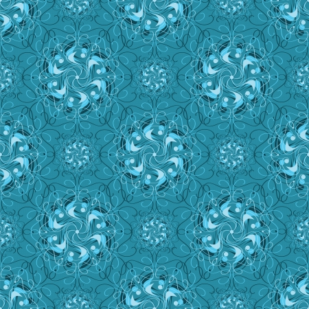 Vector seamless blue abstract pattern with waves and curl Stock Vector - 15476441