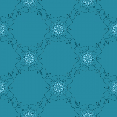 Vector seamless blue abstract pattern with waves and curl Vector