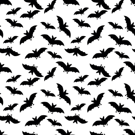 seamless pattern with black bats on white background Vector