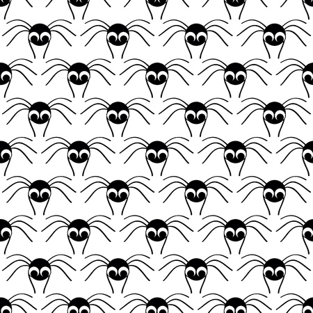 crawlies: Halloween  seamless pattern   with  black small spider