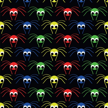 crawlies: seamless pattern   with  red, blue, yellow, blue small spider Illustration