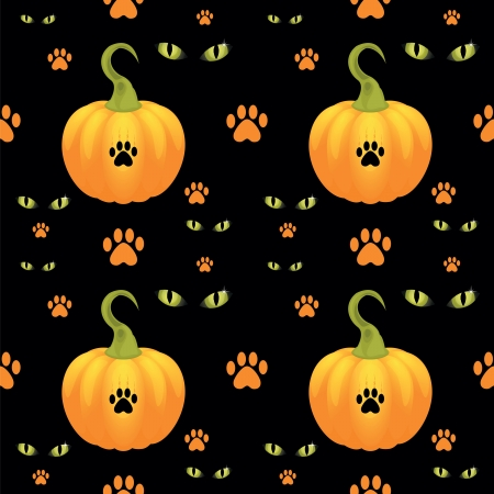 seamless texture with pumpkin and eye of monster  Vector
