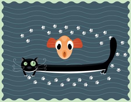 Illustration of happy black cat with big  fish Vector