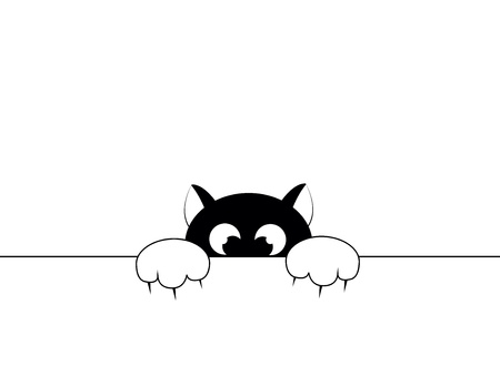 black smal cat is afraid of punishment Illustration